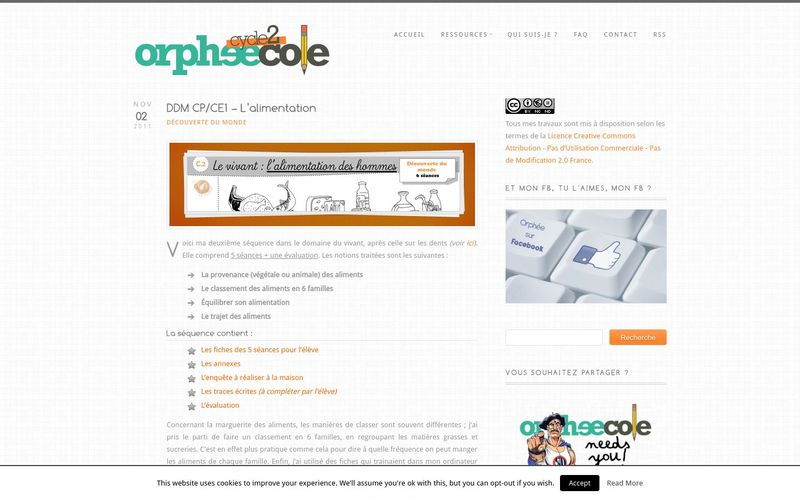 Orpheecole cycle 2 : l'alimentation